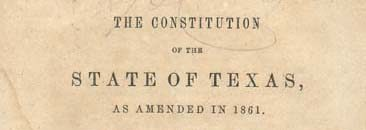 Front Cover of the Texas Constitution