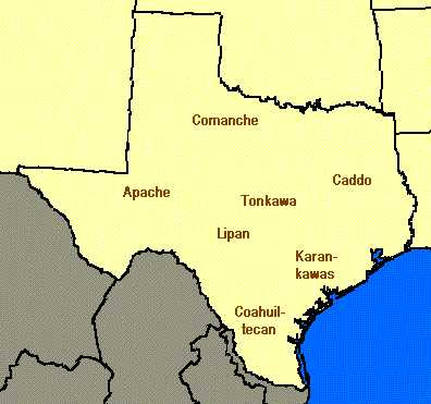 Map Of Texas Indian Tribes